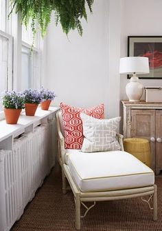 Thrift store chaise for small balcony....or a small reading nook by the window