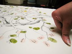 Adorable guest book idea. Thumbprint tree! Write your name in the thumbprint! <3