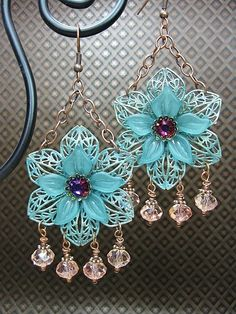 Verdigris Flower Chandelier Dangle Drop earrings, CayaCowgirlCreations