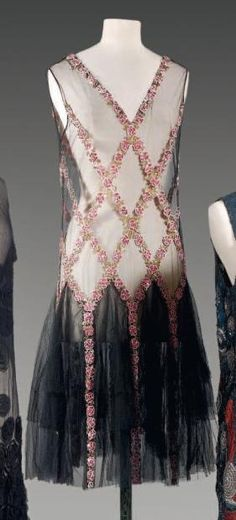French, dress in black tulle embroidered evening with sequins, beads, pink patterned flowers, c. 1925, detail pictured.
