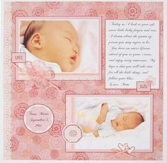Scrapbooking layouts, scrapbooking ideas, baby