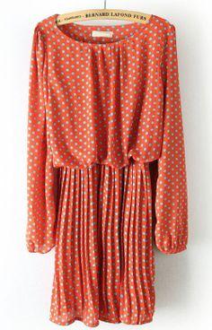 Orange Long Sleeve Polka Dot Pleated Chiffon Dress - Sheinside.com #SheInside