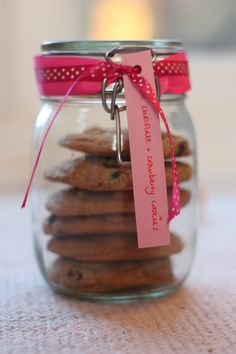 Homemade hummingbird white chocolate and cranberry cookies in kilner jar. Makes a inexpensive new baby or Christmas present