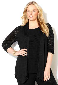 Shadow Striped Cardigan-Plus Size Cardigan-Avenue