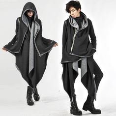 Buy 'deepstyle – Hanky Hem Asymmetric Zip Coat' with Free International Shipping… Cute Jackets, Long Jackets, Dark Fashion, Asian Fashion, Mens Fashion, Badass Style, My Style, Cosplay Outfits, Coats For Women