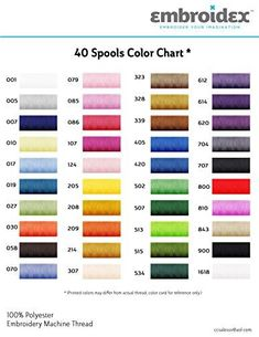 Brand: EmbroidexColor: Assorted ColorsFeatures: SET OF 40 SPOOLS - Embroidex brings to you a set of 40 Polyester Embroidery Thread Spools which come in beautiful colors to embellish and brighten up any of your projects. Colors' numbering is similar to Brother Embroidery Thread Colors, just to make sure thread matching is a little easier for you. Embroidex is known for its best-in-class and cost-effective Machine Embroidery Supplies and you bet you can't go wrong when you buy from us! IDEAL… Embroidery Services, Embroidery Supplies, Custom Embroidery, Machine Embroidery Thread, Brother Embroidery, Thread Spools, Sewing Stores, Sewing Crafts, Monogram