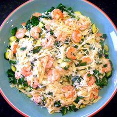 Shrimp spinach lemon linguine. Perfect light dinner :-)