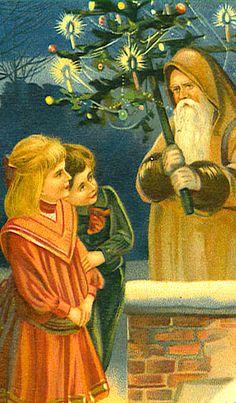 Beautiful! Vintage Christmas Card ~ Santa & Kids ~ Orange Dress