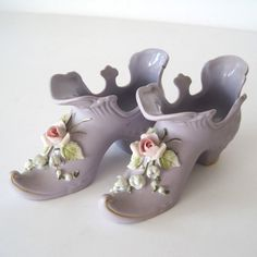 Vintage pair of Lefton porcelain shoes  2960- free shipping within US Just bought these to add to the decor for Jacqui's vintage bridal shower!
