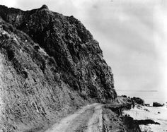 This one-lane road along the coast north of Santa Monica, seen here in 1905 courtesy of the Photo Collection – Los Angeles Public Library, eventually became Southern California's famed Pacific Coast Highway, or PCH.