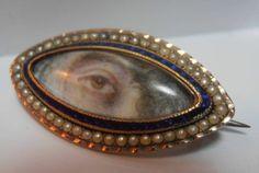 Very RARE Georgian Gold Seed Pearl Enamel Navette Lovers Eye Brooch   eBay