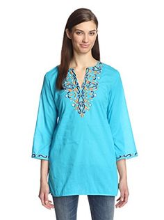 www.myhabit.com  Lightweight woven tunic with notched neckline and colorful embroidery detailing