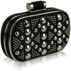 Ladies Black Studded Box Evening Clutch Bag - KCMODE