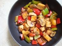 Hoisin sauce stir fry.  Use any veggies you have and marinate tofu in the sauce.  Substitute brown sugar for the honey if you are feeding a baby under 1.