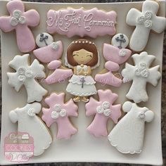 Girl First Communion Cookies, Pink & White Communion Cookies.  Galletas de Primera Comunion para Nina