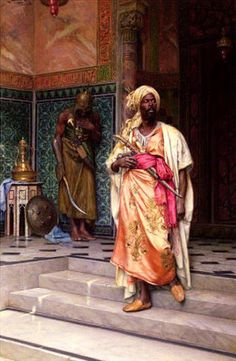 "leseanthomas: Mind-blowing oil paintings by Austrian/Jewish painter, LUDWIG DEUTSCH, LEON GEROME RUDOLF ERNST in the late 1800s: The subject, ""The Palace Guard"" were depictions of North African medieval Muslims, THE MOORS, who settled in ruled Northern Africa and invaded and conquered many parts of what we would now consider ""Southern Europe (Spain, Portugal, France Southern Italy-ala Sicily)"" for nearly 800 years, from as early as the 7th to the 15th century. Their ..."