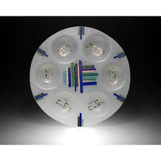 Beames Designs Round Seder Plate Duo Linear Blue-Green JD119, Artistic Artisan Designer Judaica