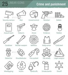 Vector Linear Icons Set for Police Infographic - Icons