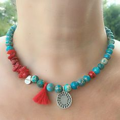 Blue Medallion Turquoise Necklace, Beaded Necklace, Necklace for Women, Gift For Women, Handmade Nec Bead Jewellery, Bead Earrings, Beaded Jewelry, Jewelery, Silver Jewelry, Handmade Necklaces, Handcrafted Jewelry, Unique Jewelry, Boho Necklace
