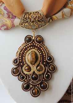 Nice but no Scarf Jewelry, Bead Jewellery, Fabric Jewelry, Beaded Jewelry, Jewelery, Handmade Jewelry, Soutache Pendant, Soutache Necklace, Jewelry Crafts
