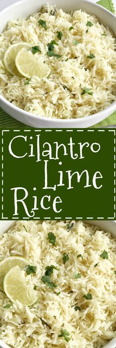 Cilantro lime rice is the perfect side dish, for burritos, nachos, or even a taco salad. So many options! Delicious toasted rice is cooked to perfection in a flavorful chicken broth full of spices, cilantro and lime. This is the best cilantro lime rice and turns out perfect every single time. Rice For Tacos, Rice For Burritos, Side Dish For Tacos, Fish Side Dishes, Chicken Side Dishes, Crockpot Side Dishes, Taco Rice, Side Dishes For Chicken, Vegetable Side Dishes