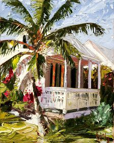 This is soooo beautiful. Click the small pic to see MUCH bigger with all the brush strokes! Watercolor Landscape, Landscape Art, Wine And Canvas, Tropical Art, Tropical Houses, Caribbean Art, Cottage Art, Painting Workshop, Surf Art