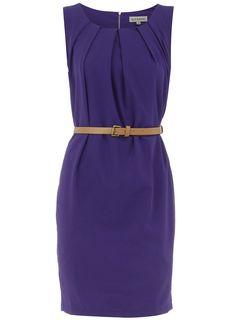 Royal blue pleat belt dress[for wear as awedding guest] - View all Clothing Brands - Clothing Pretty Outfits, Cute Outfits, Work Outfits, Pretty Dresses, Work Fashion, Fashion Design, Big Fashion, Vogue, Work Chic