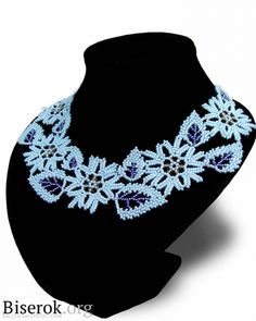 """Master class necklace """"Frosty Leaves"""" (Translate)~ Seed Bead Tutorials"""