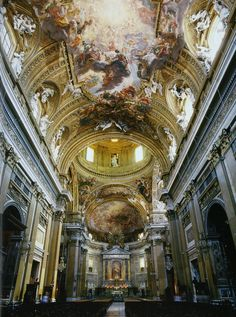 Il Gesù, Rome by Giacomo or Jacopo Barozzi da #Vignola construction 1568 - 1584  - ceiling decoration is later, from 17th century