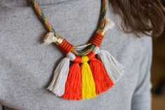 Climbing rope necklace | #deuxsoray #ds #necklace #rope #ropenecklace #climbing #climbingrope #tassel #tasselnecklace #colorful #orange #handmade #jewelry #etsy #seller #sisters #two #bewhoyouare African Necklace, Climbing Rope, Rope Necklace, Unique Jewelry, Handmade Jewelry, Tassels, Colorful, Trending Outfits, Handmade Gifts