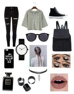 """""""Untitled #194"""" by emma-8bradley ❤ liked on Polyvore featuring River Island, Converse and Yves Saint Laurent"""