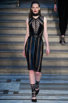 Julien Macdonald | Fall 2015 Ready-to-Wear | 20 Black/blue mesh belted sleeveless midi dress