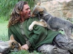 Shaun Ellis and his wolf cubs