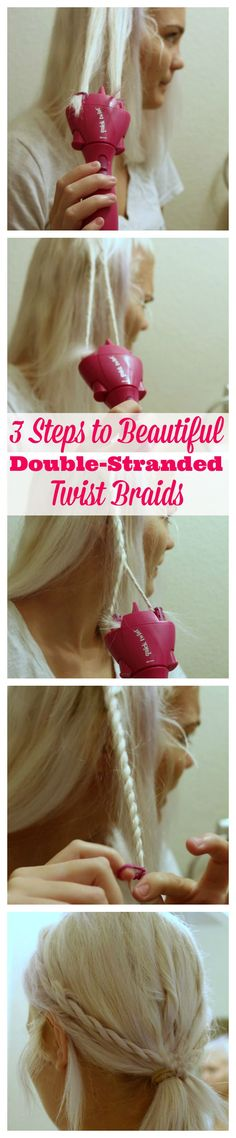 The Conair Quick Twist is a quick, fun, easy, new way to twist, twirl, accessorize, and style your hair at the push of a button. After a few practices and some tips I shared with her, she was able to create some cute side double-stranded braids. [ad] #QuickTwist