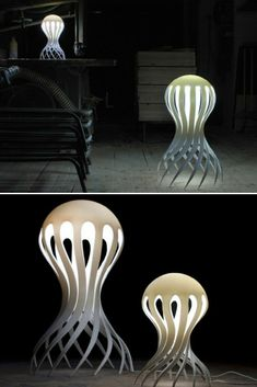 """Cirrata Octupusis beautiful name given by the Swedish designer Markus Johansson in his last series of modern floor or desk lamps. As its name suggests, it was inspired by sea creatures, here the famous """"Octopus"""" and was able to perfectly reproduce their long legs that sweep the  #3Dprinting #Concept #Desklamp #Floorlamp #Lamp #Lighting #Lightingdesign #Modernlighting #Steampunk"""