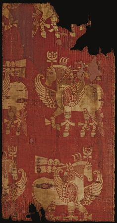 A SILK SAMIT TEXTILE FRAGMENT, NEAR EAST (?), 12TH CENTURY OR EARLIER