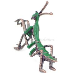 Green & Amethyst Praying Mantis Brooch