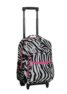 Backpack Rolling Rockland School Bag Carry On 17in Roadster Zebra ...