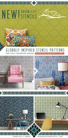 New Globally Inspired Stencils for Chic Interior Design - Raven + Lily African Patterns - Royal Design Studio Wall Stencils, Furniture Stencils, and Craft Stencils for Exotic Decor