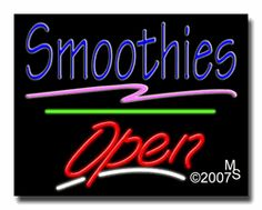 """Smoothies Open Neon Sign - Script Text - 24""""x31""""-ANS1500-2018-3g  31"""" Wide x 24"""" Tall x 3"""" Deep  Sign is mounted on an unbreakable black or clear Lexan backing  Top and bottom protective sides  110 volt U.L. listed transformer fits into a standard outlet  Hanging hardware & chain included  6' Power cord with standard transformer  Includes 2nd transformer for independent OPEN section control  For indoor use only  1 Year Warranty on electrical components."""