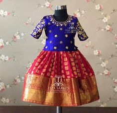 Best 12 Stunning pink pattu kids lehenga and blue color parikini with bird and cage design hand embroidery thread work on yoke. Age : 1 to : 4500 INR 18 February 2019 – SkillOfKing. Kids Party Wear Dresses, Kids Dress Wear, Baby Girl Party Dresses, Kids Gown, Dresses Kids Girl, Kids Wear, Pageant Dresses, Kids Outfits, Kids Lehanga Design