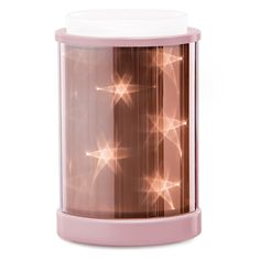 Star Dance features an internal multipoint light source — viewed through holographic film — to create a twinkling, three-dimensional starry night effect that's positively galactic. Accented with a rose-gold metallic finish!