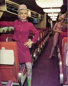 1964 Emilio Pucci Airline Stewardess uniforms When insurance mogul Troy Post bought Braniff Airlines - Alexander Girard for the design of the planes and Italian fashion designer Emilio Pucci uniforms retro air glam Andy Warhol Mod Fashion, 1960s Fashion, Vintage Fashion, Vintage Couture, Vintage Vogue, Vintage Glamour, Timeless Fashion, Vintage Beauty, Outfits