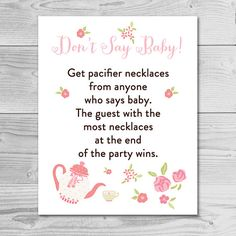 Garden Tea Party  Baby Shower Game  Don't by dearbabyprintables