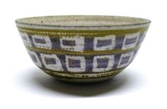James & Nan McKinnell Studio Pottery Speckled Bowl with Square Design