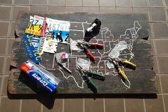 how to make a license plate map, crafts