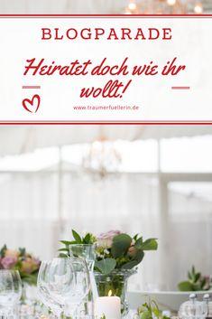 """""""Heiratet doch wie ihr wollt!"""" ist das Motto der Blogparade der Traumerfüllerin. Schreibt einen Beitrag über eure Traumhochzeit oder darüber, was ihr heute anders machen würdet. Gib als Dienstleister wichtige Tipps für Brautpaare, um ihre Hochzeit einzigartig und unvergesslich zu machen. Motto, Newlyweds, Getting Married, Unique, Switzerland, Germany, Tips, Mottos"""