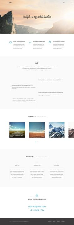 Uno is a one page/single page website template with clean, minimalist and modern design, perfect for creative digital agencies or personal online portfolio to present your services in an elegant way. Page Template, Website Template, Templates, Free Web Page, One Page Website, Photoshop, Web Design Tutorials, First Page, Cool Websites