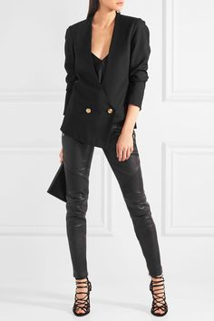 Balmain - Moto-style Leather Skinny Pants - Black - FR36