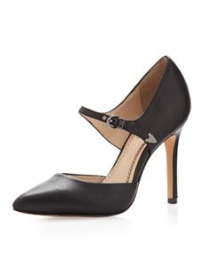 Cecilia Leather Ankle-Strap Open-Side Pump, Black Buy by Nov.5th
